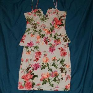 Floral Bodycon Peplum Semi-Formal Dress